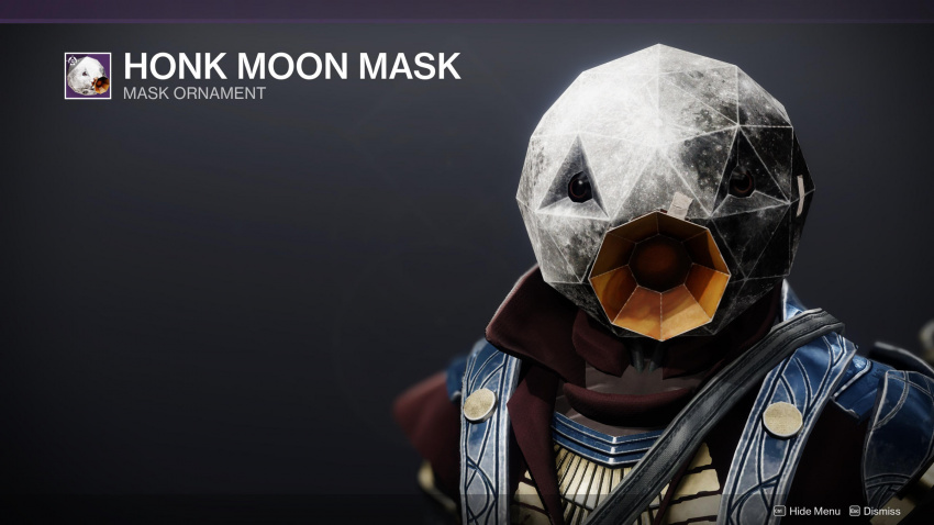 this destiny 2 untitled goose game mask is actual nightmare fuel