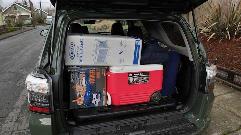 ford bronco 4-door vs jeep wrangler luggage test   how much cargo space?